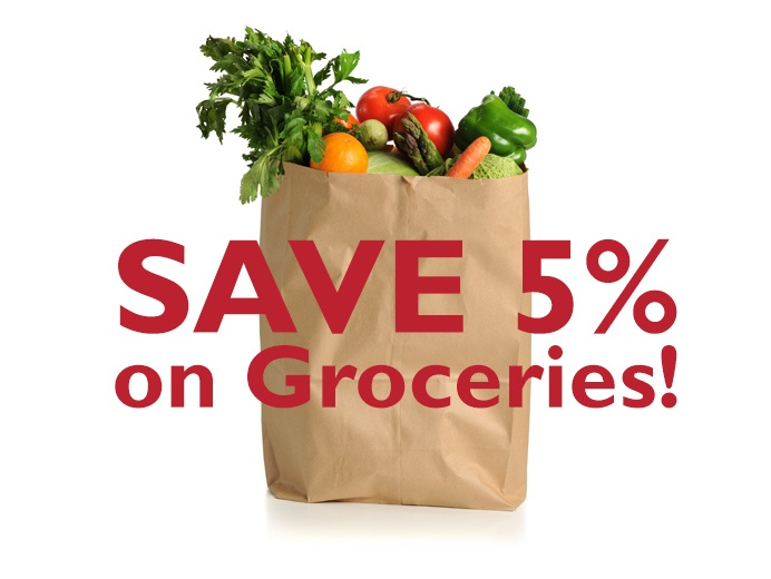 Save 5% on groceries graphic