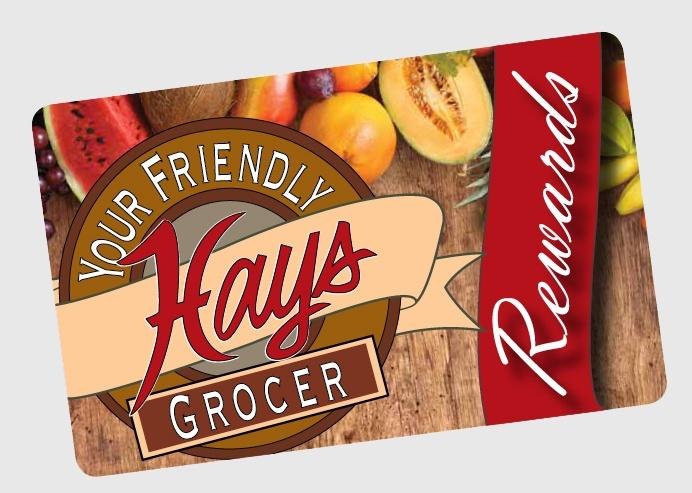 Photo of Hays rewards card with grey background.